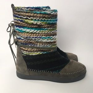 Toms Nepal multicolor textile mix leather boots